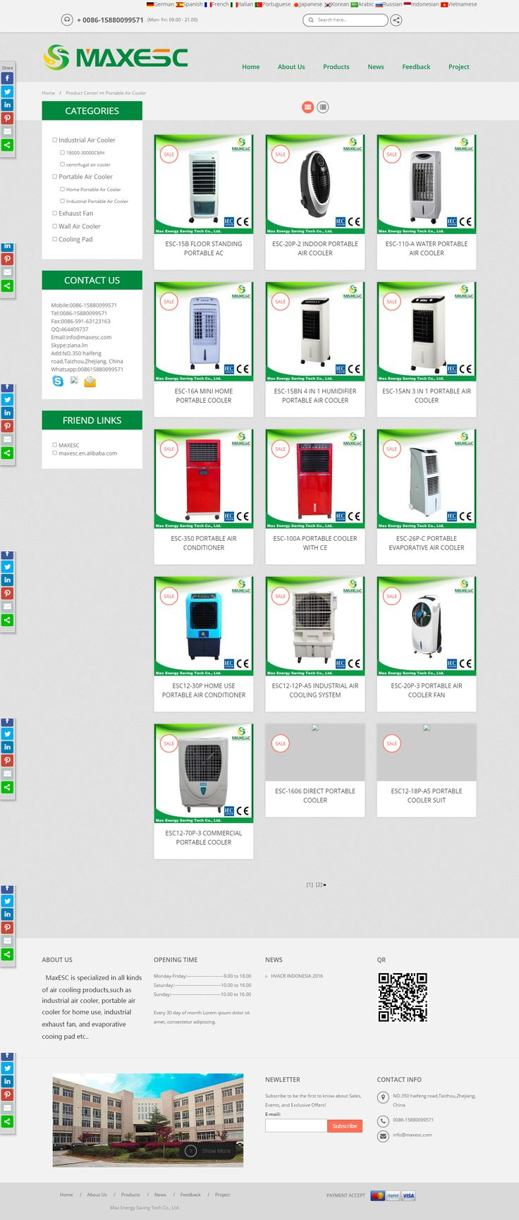 Max Energy Saving Tech Co., Ltd. is a leading supplier of portable air cooler and also exporting room air cooler, evaporative air cooler, big outdoor evaporative portable air cooler and many more. Read More: http://www.maxesc.com/Portable-Air-Cooler-3.html