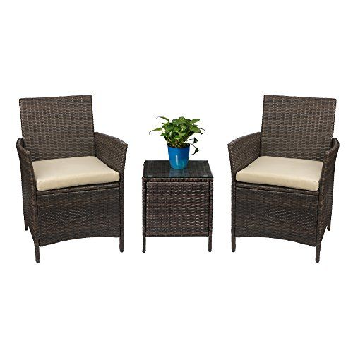 Patio Porch Furniture Set 3 Piece Pe Rattan Wicker Chairs Beige Cushion With Table Furniture Porch Furniture Outdoor Patio Furniture Sets Patio Furnishings