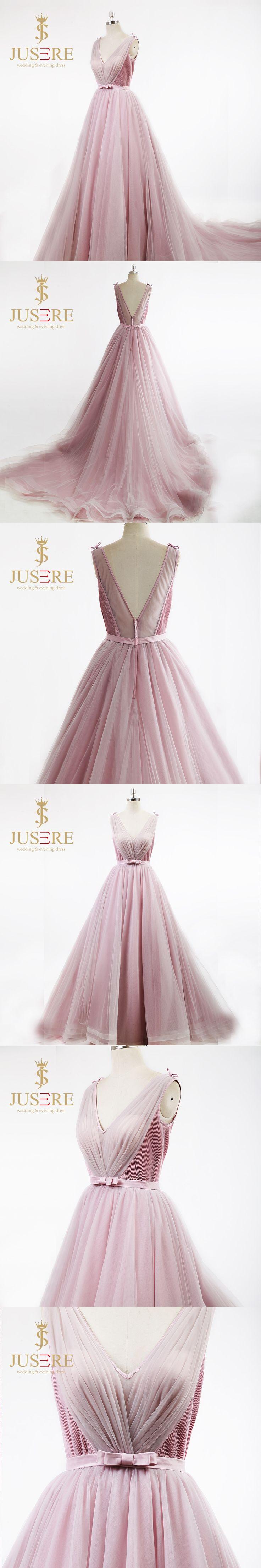 Jusere V neck Sleeveless Backless Court Train Pleat Skirt Lovely Girl Bow Knot Belt Light Pink Simple Design Prom Dress 2018
