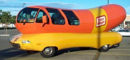 The Oscar Mayer Wienermobile has been redesigned several times over the years. This is a 1995 model created by world-renowned auto designer Harry Bradley. It's 27 feet long and 11 feet high!