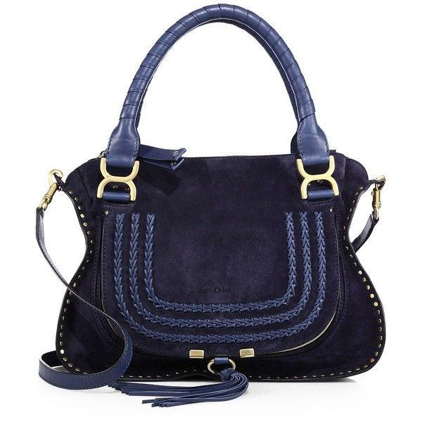 Chloe Marcie Medium Double Carry Suede Bag ($2,440) ❤ liked on Polyvore featuring bags, handbags, apparel & accessories, pocket purse, blue suede purse, satchel purses, tassel purse and suede handbags