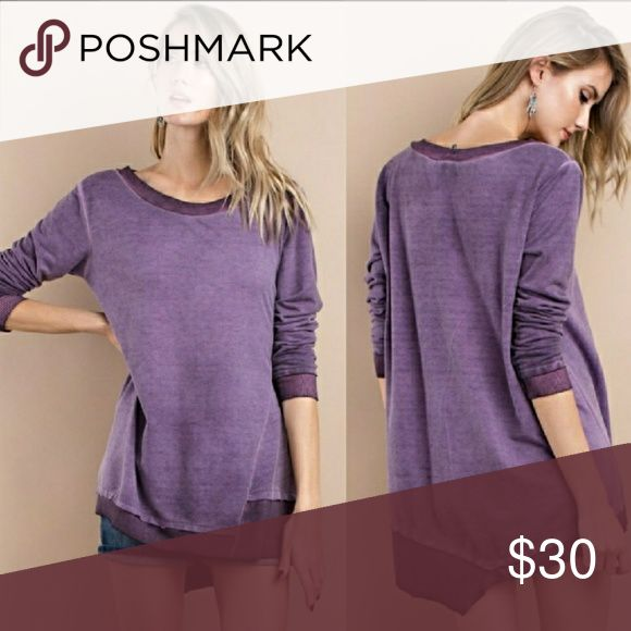 Purple long sleeve top Gorgeous shade of purple, oil washed fabric, asymmetric hem in a slightly oversized, long sleeved, medium weight, French Terry top. Size Large, oversized relaxed fit. Looks gorgeous in person. Brand new reposh, never worn. Tops Sweatshirts & Hoodies