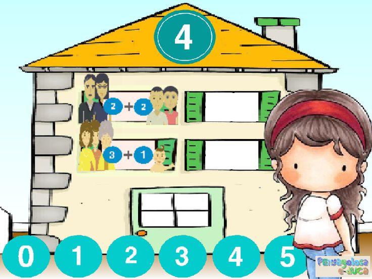 ABN – NUMERACIÓN – NIVEL1 – ¿Quién vive en cada piso de esta casa? (1-5) – En este juego se trabaja la descomposición de números. En la buhardilla aparece el número que se ha de descomponer y, en cada una de las ventanas, se han de realizar descomposiciones diferentes. No hay una solución única para cada ventana aunque, evidentemente, la descomposición debe ser correcta.