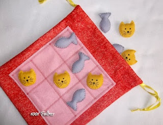 Tic tac toe - felt - kitty & fish -- I could so do this with Buzz lightyear and princesses!