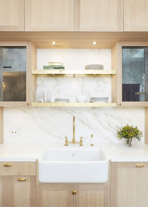 light wood and marble kitchen with brass details by studio DB | via coco+kelley