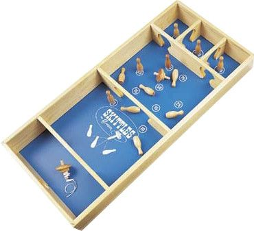 Features:  -Games include hardwood spinning top, braided spinning twine and twelve hardwood pins.  -For ages 6 and up.  -Cabinet Sides, ends and partitions are made of solid wood.  -Cabinet sides and