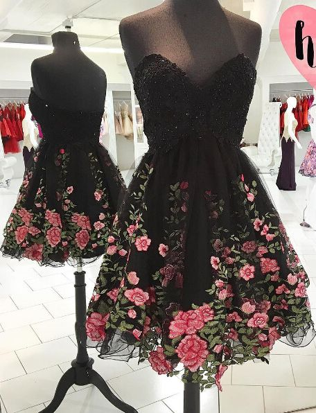 Black floral flock strapless dress