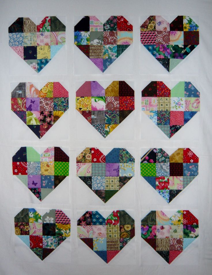 Patchwork Heart Quilt Blocks