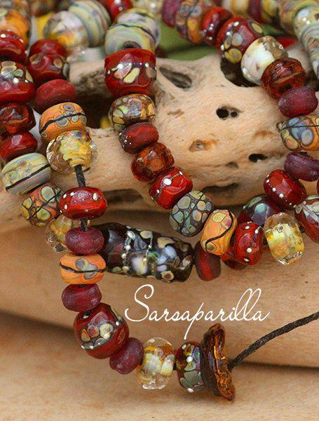 Sarsaparilla Organics Strand (50) handmade glass lampwork beads SRA by JenelleAubadeGlass on Etsy https://www.etsy.com/listing/476829453/sarsaparilla-organics-strand-50-handmade