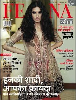 Nargis Fakhri on The Cover of Femina Hindi Magazine- April 2013.