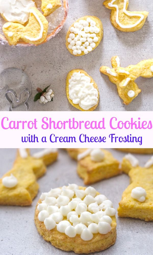 Carrot Shortbread Cookies, these delicious butter cookies just got an Easter make over. Made with butter, icing sugar and yes carrots!  And of course an easy Cream Cheese Frosting. Bunnies for Easter. #shortbread #carrots #Easter #creamcheesefrosting via @https://it.pinterest.com/Italianinkitchn/