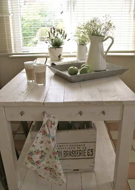 add hooks to butcher trolley, white crate transfer french image, paint tray grey, lavender in bucket pots