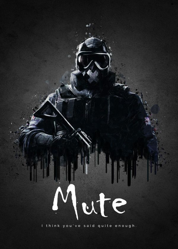 "Rainbow Six Siege Characters Mute #Displate artwork by artist ""TraXim"". Part of a 33-piece set featuring artwork based on characters from the popular Rainbow Six video game. £37 / $49 per poster (Regular size), £74 / $98 per poster (Large size) #RainbowSix #RainbowSixSiege #TomClancy #TomClancysRainbowSix #Rainbow6 #Rainbow6Siege #TomClancysRainbow6 #Ubisoft"