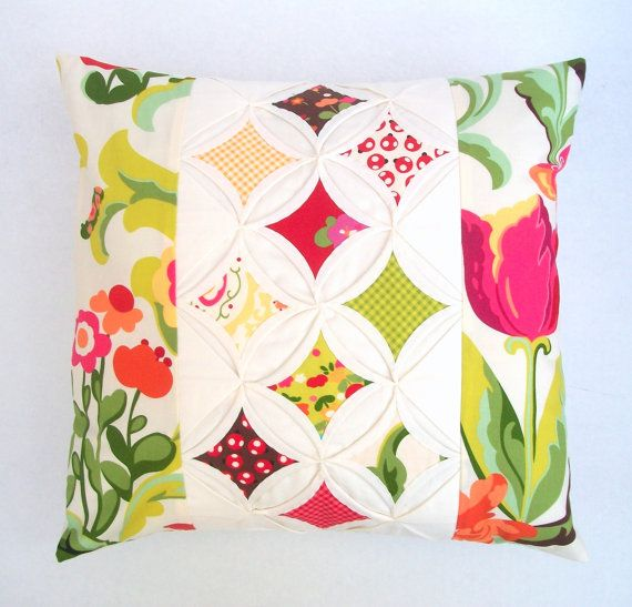 Quilted Modern Decorative Pillow Cover Throw Pillow Cathedral Window 16 Inch Decorative ...