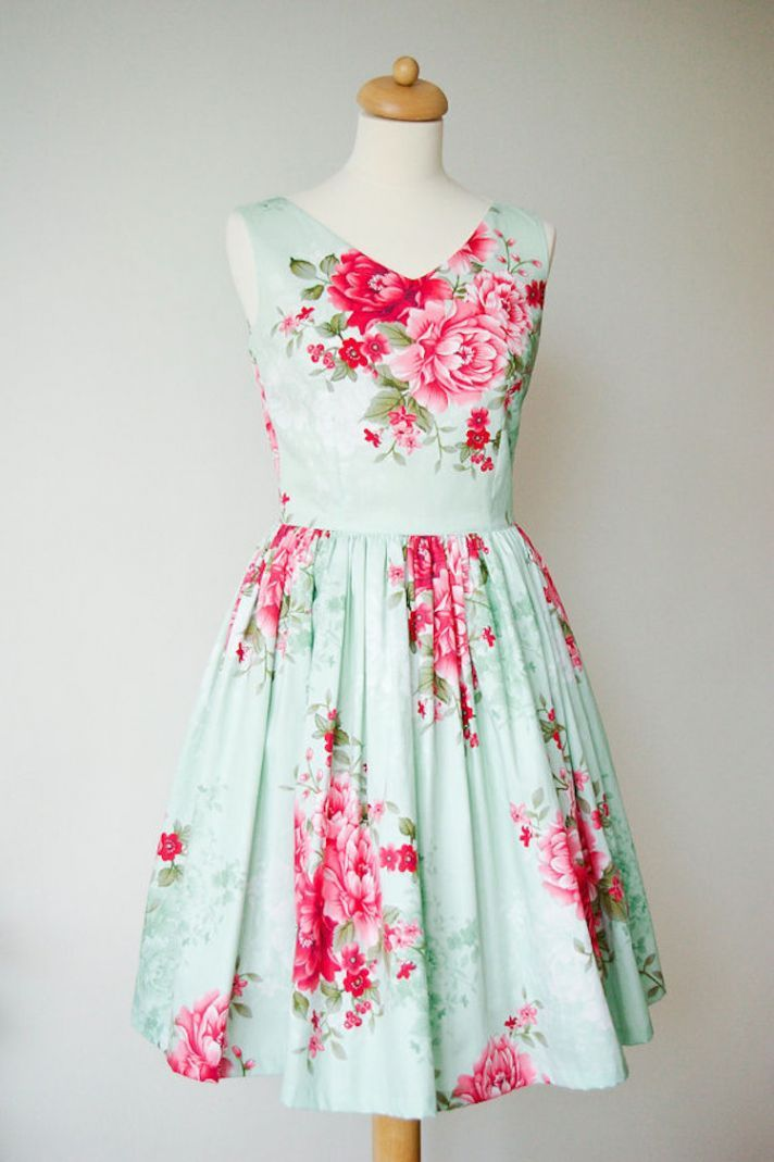 Lovely green and pink floral print bridesmaid dress for a romantic garden wedding
