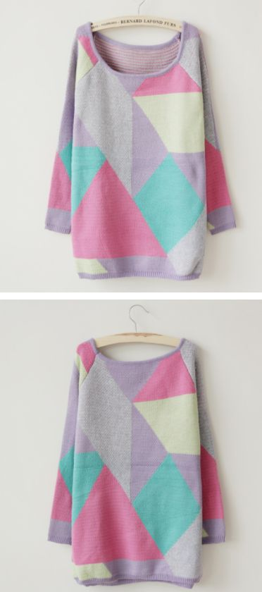 P9/Langer Pullover mit Farbkombination/Freesize/18EUR