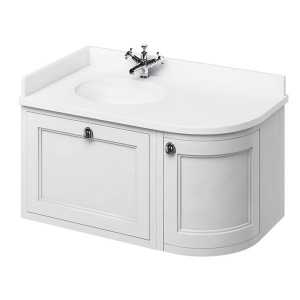 Burlington 100 Curved Lh Wall Hung Vanity Unit And White Basin 983mm Wide Matt White 1 Tap Hole Wall Hung Vanity Vanity Units Wall Hung Bathroom Vanities