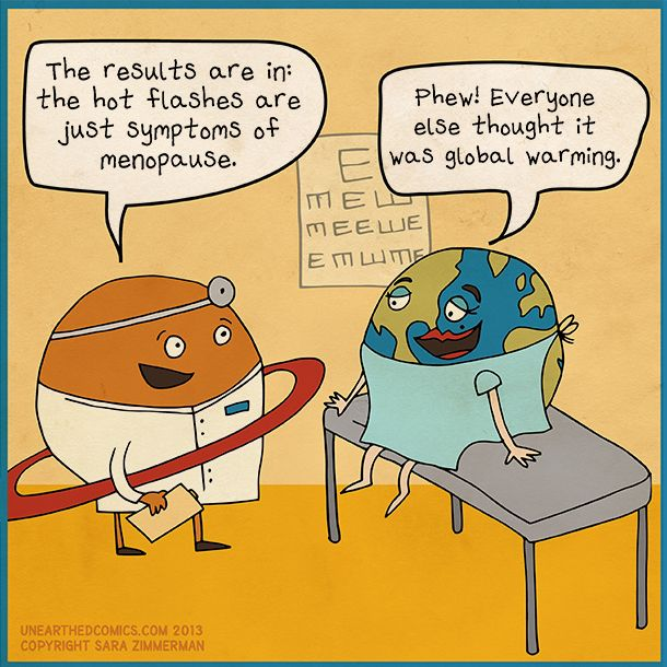 Environmental cartoon, science humor, and menopause comics by Unearthed Comics #environment #menopause #science #humor