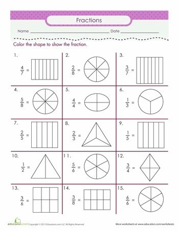 Worksheets: Color the Fraction Also ideas at http://www.education.com/activity/fourth-grade/math/