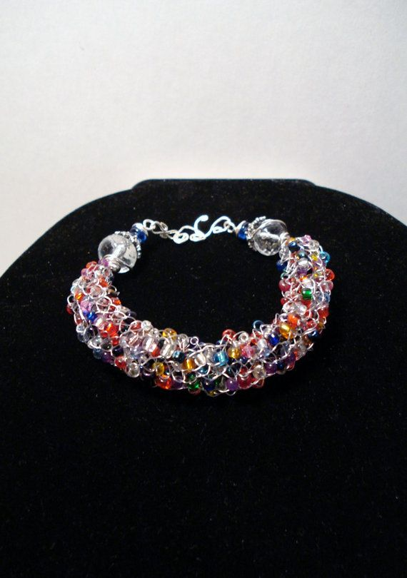 French knitted wire bracelet ♥ by mrkittyjojo on Etsy, $25.00