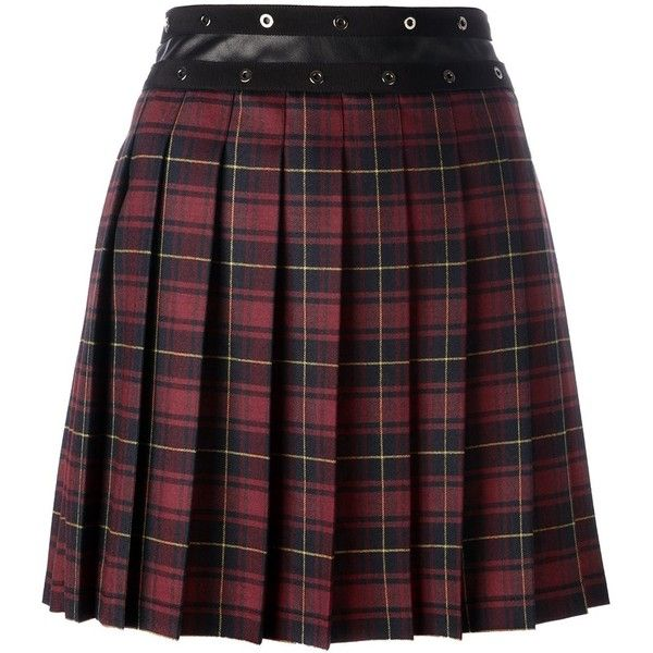 Giamba pleated plaid skirt ($744) ❤ liked on Polyvore featuring skirts, red, red skirt, giamba, purple plaid skirt, purple skirt and tartan skirt