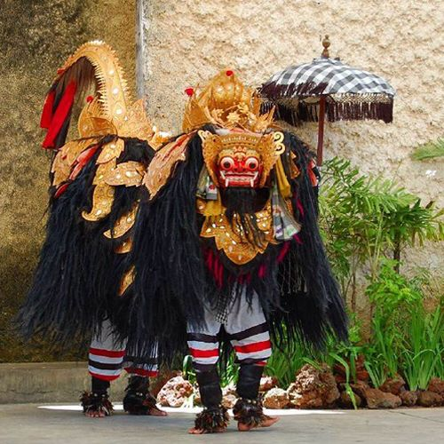Barong is a lion-like creature and character in the mythology of Bali, Indonesia. He is the king of the spirits, leader of the hosts of good, and enemy of Rangda, the demon queen and mother of all spirit guarders in the mythological traditions of Bali. The battle between Barong and Rangda is featured in Barong dance to represent the eternal battle between good and evil. In Bali each region of the island has its own protective spirit for its forests and lands.