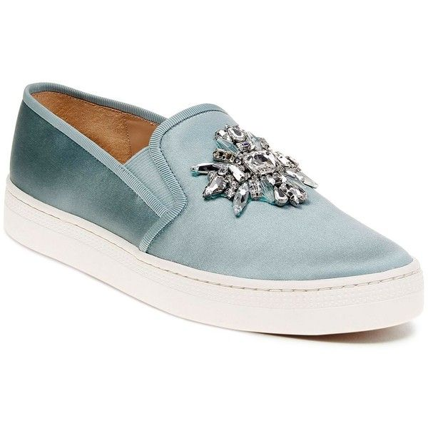 Badgley Mischka Barre Satin Embellished Slip-On Sneakers (€165) ❤ liked on Polyvore featuring shoes, sneakers, blue radiance, embellished shoes, blue sneakers, pull on shoes, slip on shoes and blue slip on shoes