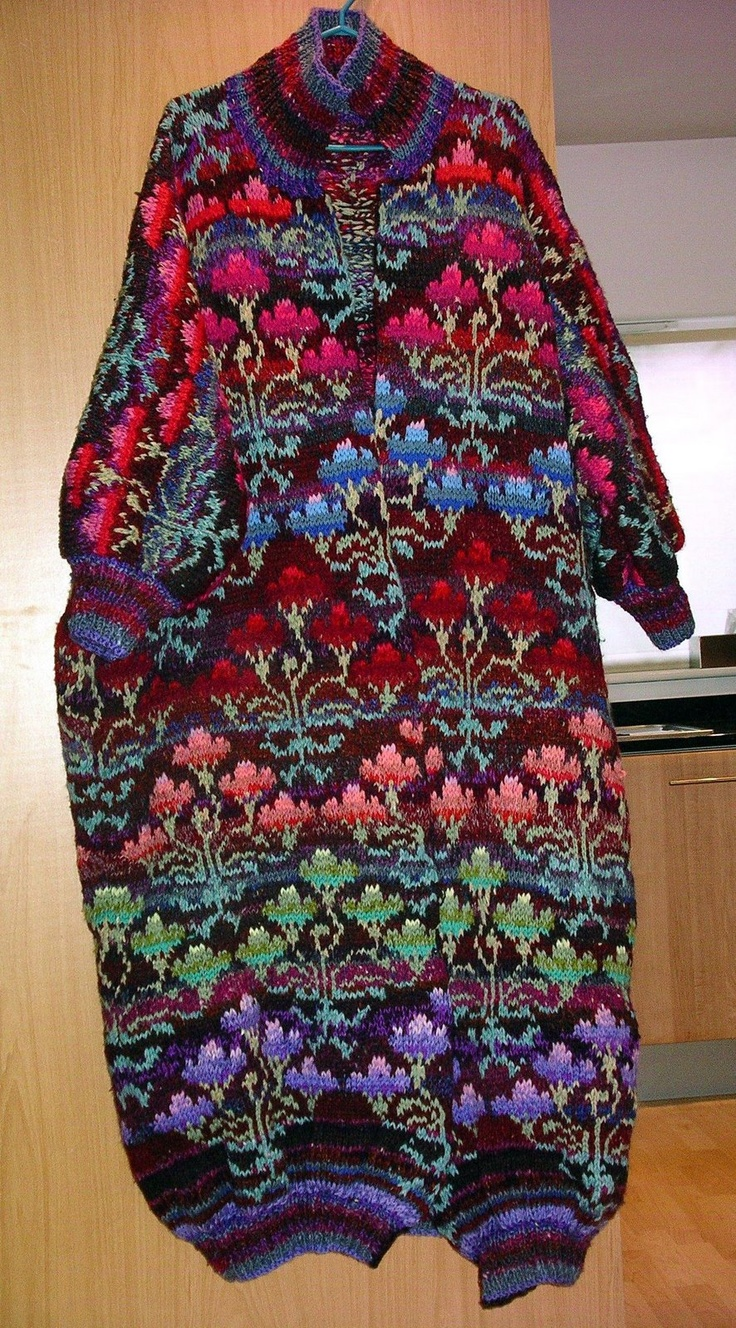 Kaffe Fassett Chinese Rose Coat lovely colors... the bagginess of the design not so much