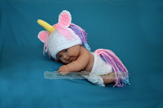 Crochet My Little Unicorn newborn baby set diaper cover and hat - photo prop outfit or Baby Shower Gift - 0 - 3 mo