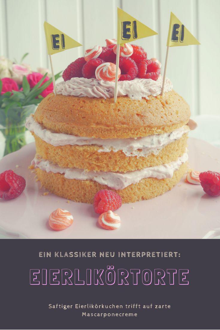 Saftiger Eierlikörkuchen mit Himbeer-Mascarponecreme und Baisertuffs.  Soooo lecker <3 #eierlikörtorte #eierlikör #torte #backen #kuchen #himbeeren #mascarpone #baiser