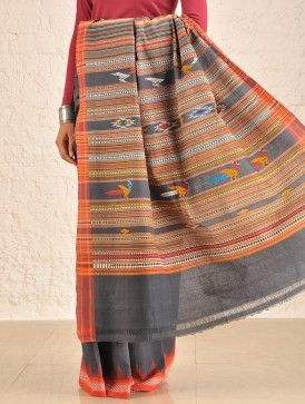 Grey Bomkai Cotton Saree