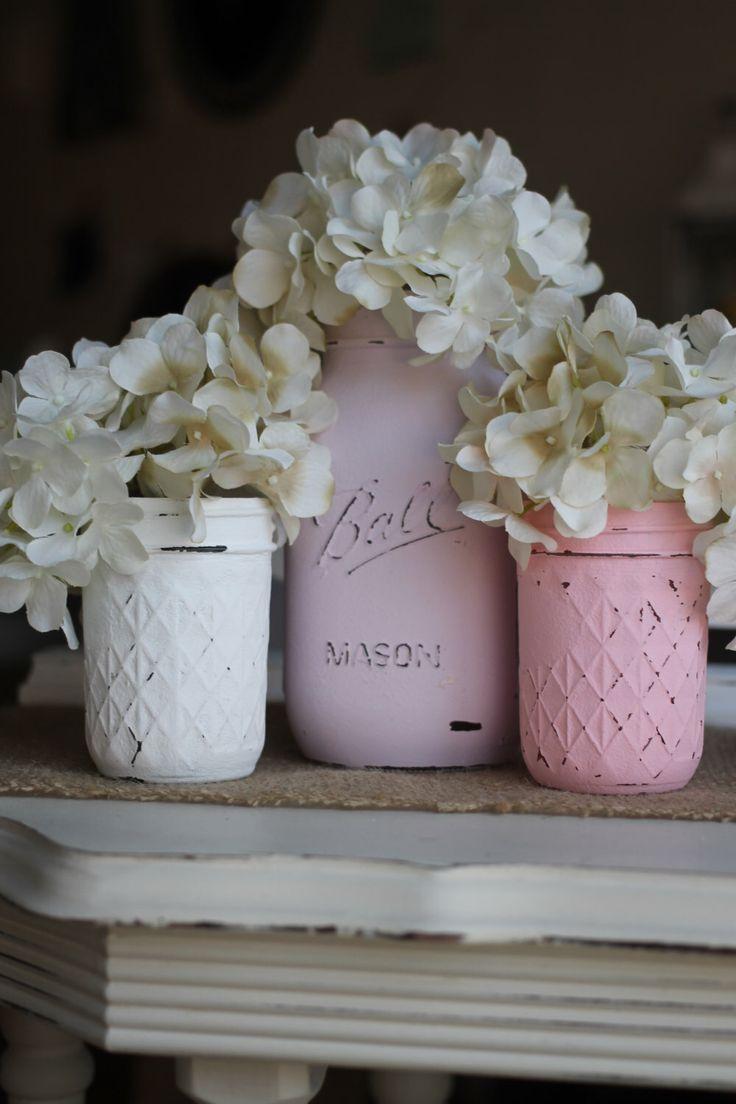 Mason Vases - Jars - Set of 3 - Distressed Chalk Finish - Ivory Hydrangea - Floral Arrangement - Shabby Chic - Country by ALittleCommonScents on Etsy https://www.etsy.com/listing/222192313/mason-vases-jars-set-of-3-distressed