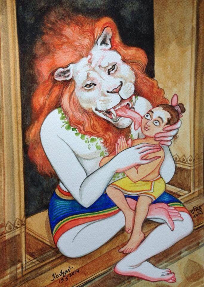 Narasimha con el devoto.