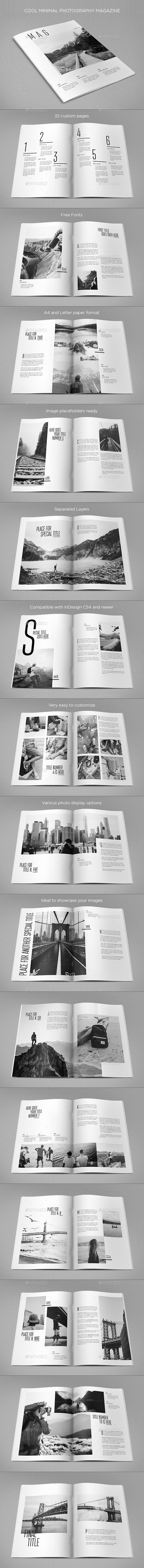 Cool Minimal Photography Magazine — InDesign INDD #professional #creative • Download ➝ https://graphicriver.net/item/cool-minimal-photography-magazine/19579094?ref=pxcr