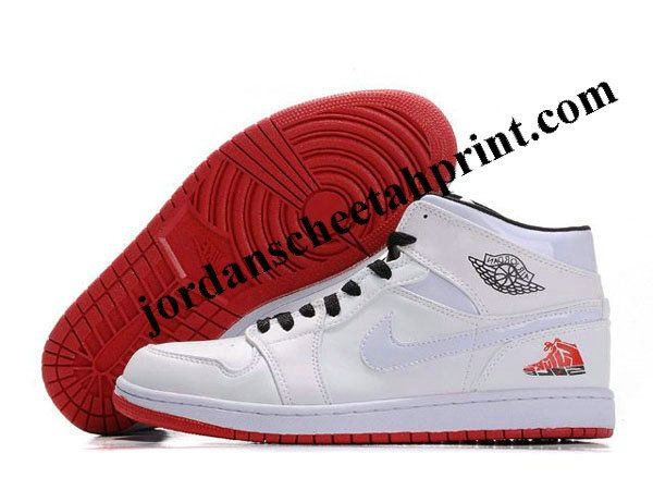 Nike Air Jordan Retro 1 Shoes White/Red/Black For Sale