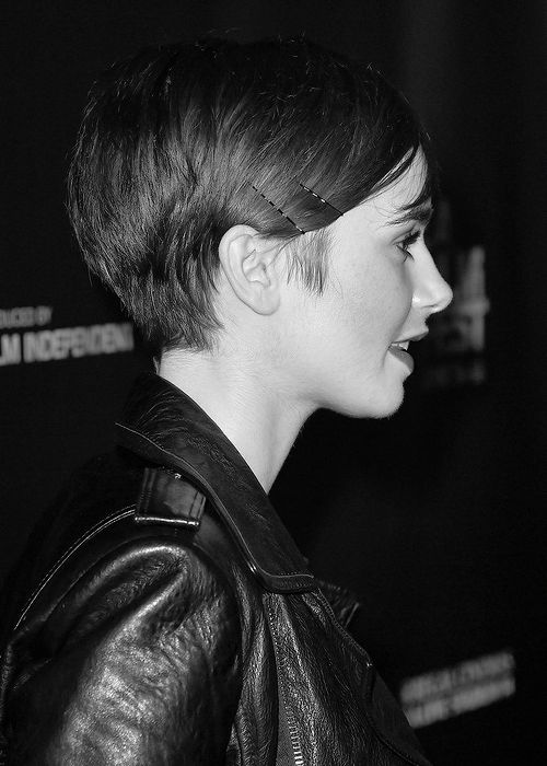 Lily Collins short hair style with bobby pins