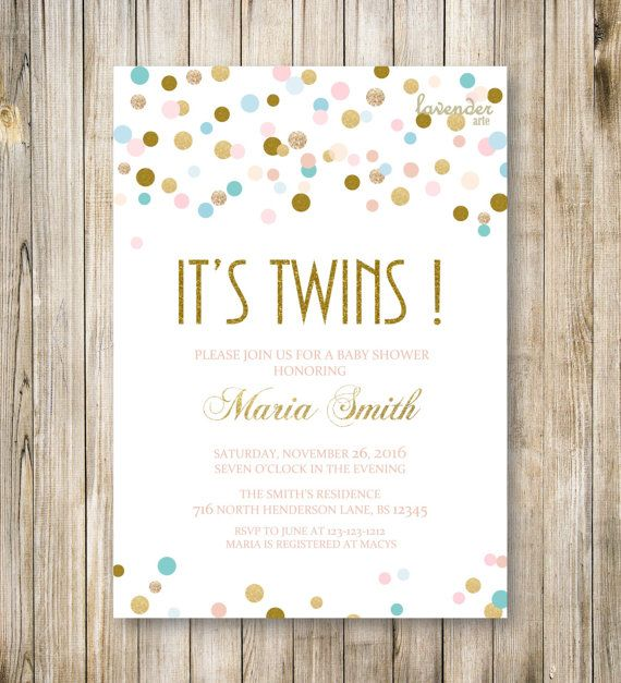 TWINS SHOWER INVITATION, Itu0027s Twin, Gold Blue Pink Twin Baby Shower Invite,  Neutral