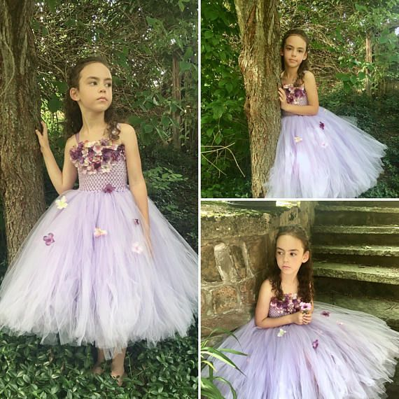 Lilac Purple Flower Girl Dress Hydrangea Special Occassion