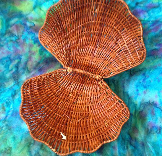 Vintage wicker sea shell basket for mermaids by tealmermaid, $15.00