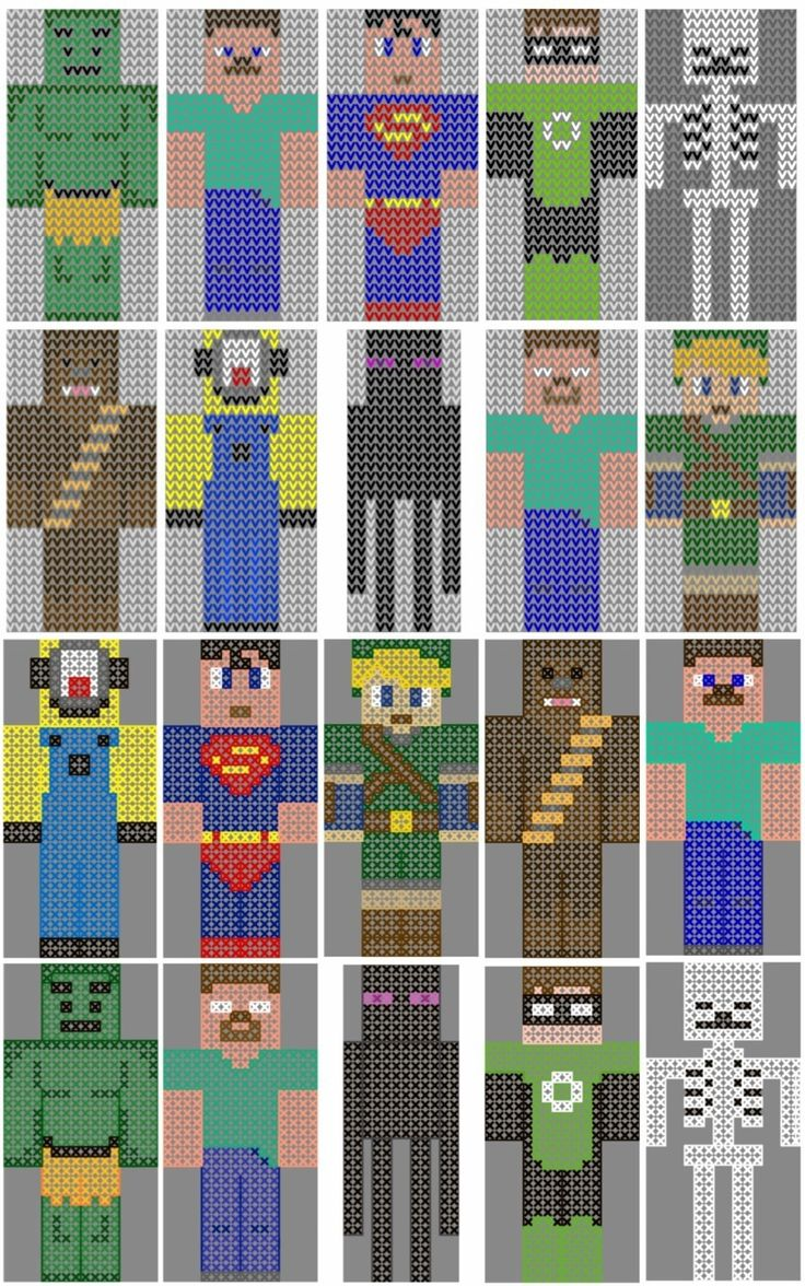 Minecraft, superhero, movie, and video game character charts! Perfect for customizing your knit & crochet projects!