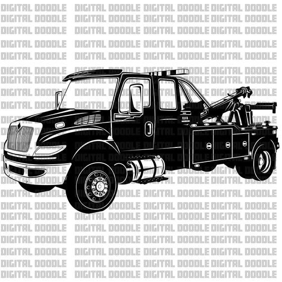 International Wrecker Tow Truck Svg Clip Art Vector Digital Download Personal Use Tow Truck Recovery Gear Towing