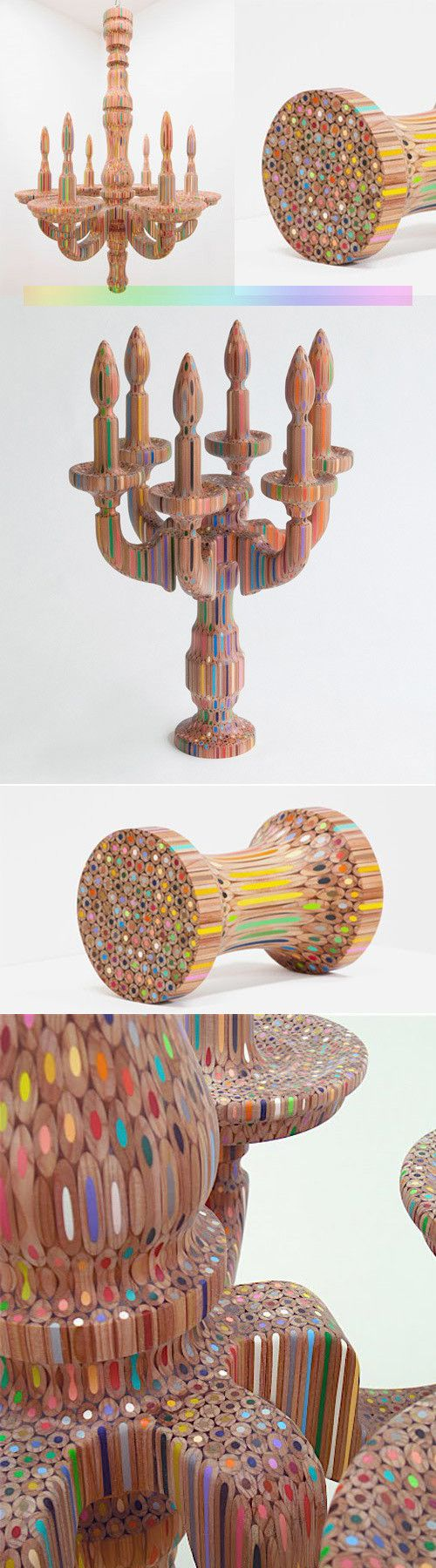 This artist carves pencils and creates these beautiful, modern candelabras and chandeliers.. I want one!