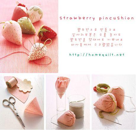 Strawberry pin cushions: Strawberries Pincushions, Crafts Ideas, Pin Cushions, Ideas Strawberries, Cushions Strawberries, Pincushions Handmade, Baby Toys, Adorable Strawberries, Morango Ems Tecido