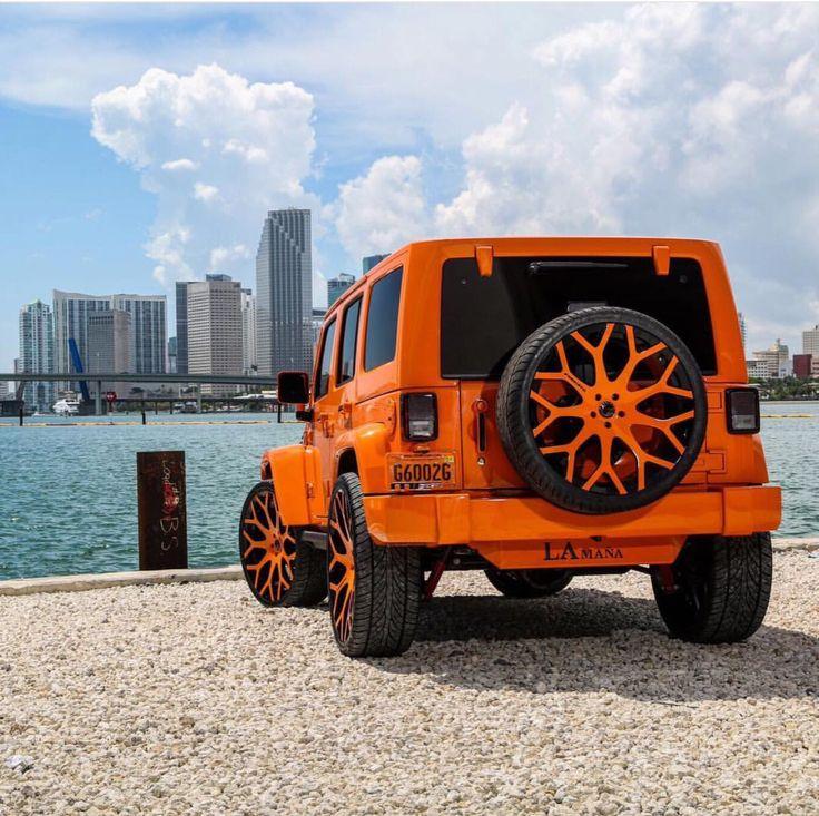 Orange Jeep Wrangler w/ Forgiato