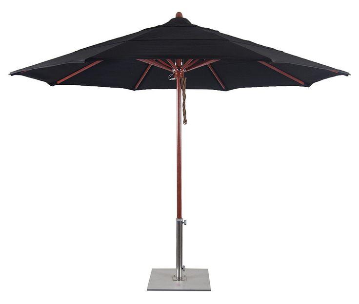FLEX118 11' Wood Simulated Fiberglass Patio Umbrella