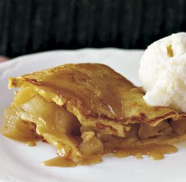 APPLE-FILLED CREPES WITH CARAMEL SAUCE  http://www.finecooking.com/recipes/apple-filled-crepes-caramel-sauce.aspx