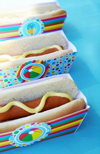 Printable Pool Birthday Party Snacks and Printables Snack Box - great for hot dogs!