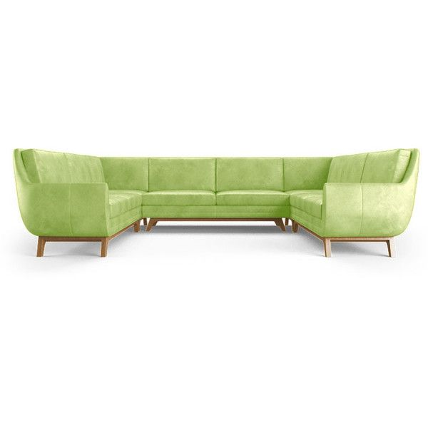 Joybird Furniture Calhoun Mid Century Modern Green Leather U Sofa...  ($10,019