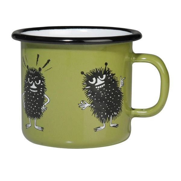 Smaller green mug featuring Stinky, makes your moments a little more exciting. It might just take you on an interesting adventure. Muurla combines design with durability in this retro enamel mug.