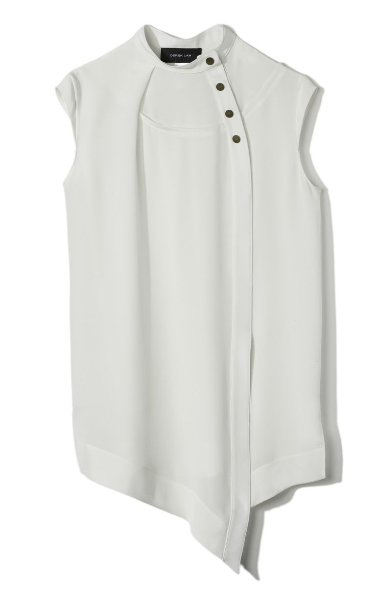 I like the simple white with the unique asymmetry. Double Crepe Asymmetrical Cap Sleeve Blouse
